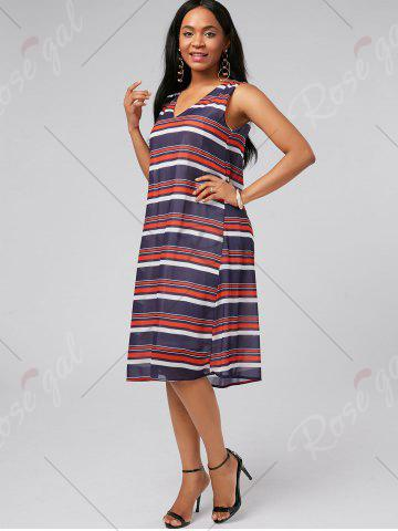 Outfits V Neck Sleeveless Casual Stripe Dress - S MULTI Mobile