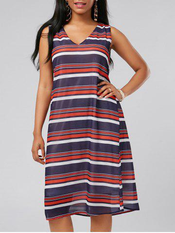 Outfits V Neck Sleeveless Casual Stripe Dress - L MULTI Mobile