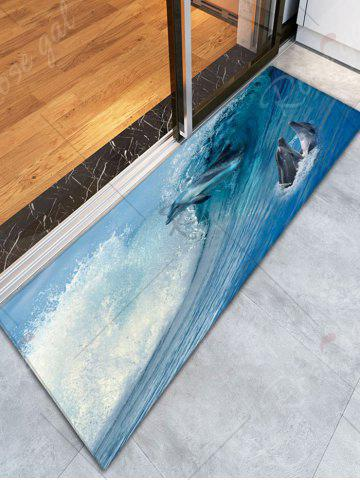 Cheap Sea World Dolphins Flannel Antiskid Rug - W16 INCH * L47 INCH BLUE Mobile