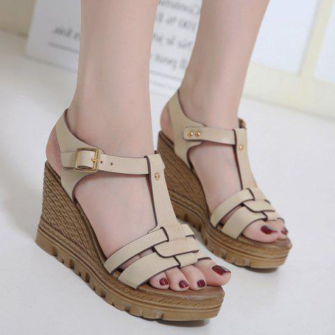 Wedge Heel T Bar Sandals - Apricot - 38