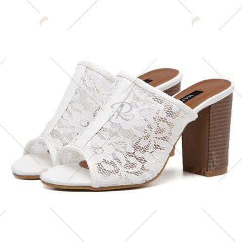 Buy Block Heel Lace Slippers - 40 WHITE Mobile