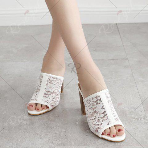 Affordable Block Heel Lace Slippers - 40 WHITE Mobile