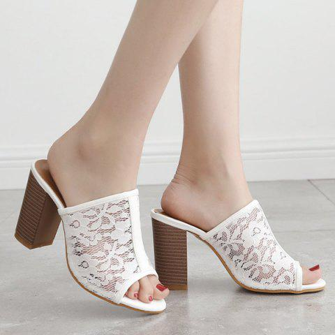 Discount Block Heel Lace Slippers - 40 WHITE Mobile