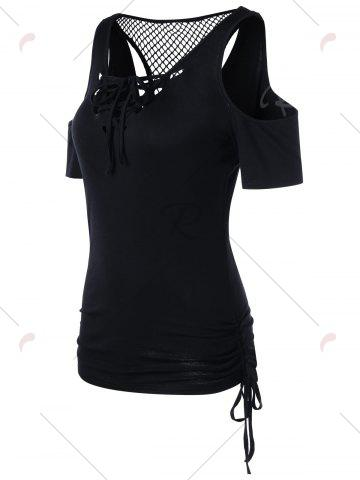 Buy Openwork Cold Shouder Lace Up T-shirt - M BLACK Mobile