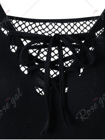 Chic Openwork Cold Shouder Lace Up T-shirt - M BLACK Mobile