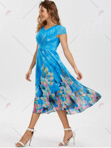 Hot Casual Bohemian Floral Flowy Midi Dress - M BLUE Mobile