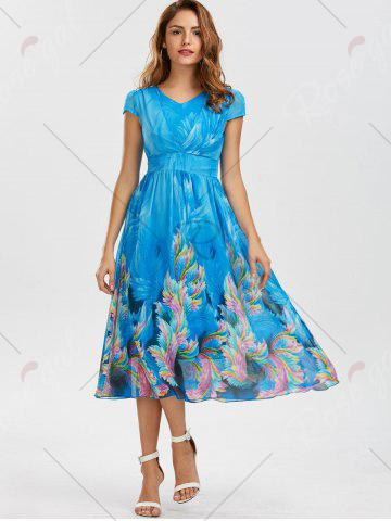 Store Casual Bohemian Floral Flowy Midi Dress - M BLUE Mobile