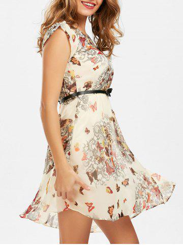 Latest Butterfly Print Belted Dress YELLOW XL