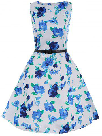 Sleeveless Fit and Flare Floral Dress with Belt - Blue And White - Xl