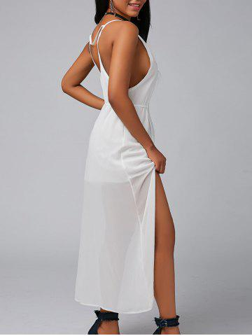 Shop Backless High Split Chiffon Maxi Party Dress - XL WHITE Mobile