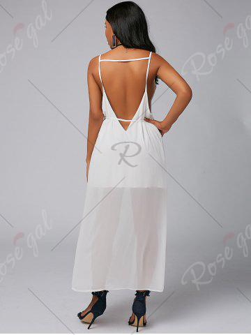 Outfit Backless High Split Chiffon Maxi Party Dress - L WHITE Mobile