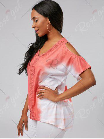 Trendy Tie Dye Cold Shoulder Tunic Tee - S ORANGE RED Mobile