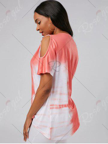 Buy Tie Dye Cold Shoulder Tunic Tee - S ORANGE RED Mobile