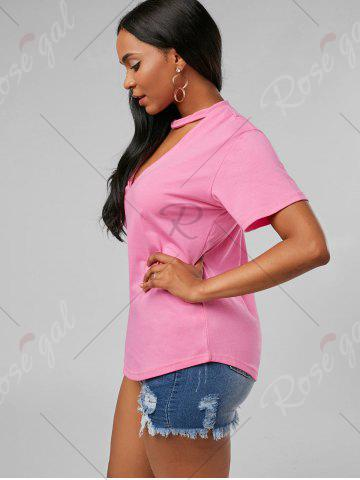 Fancy Plunging Neck Choker T Shirt - S PINK Mobile
