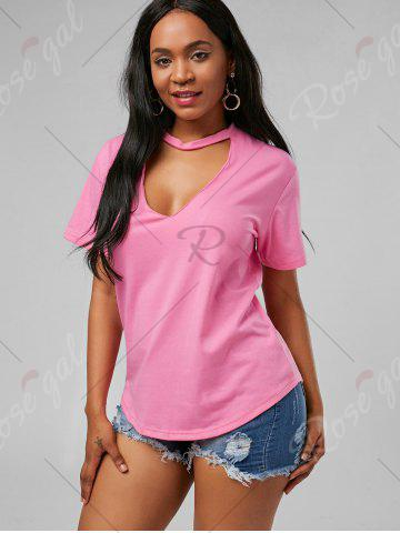 Latest Plunging Neck Choker T Shirt - S PINK Mobile