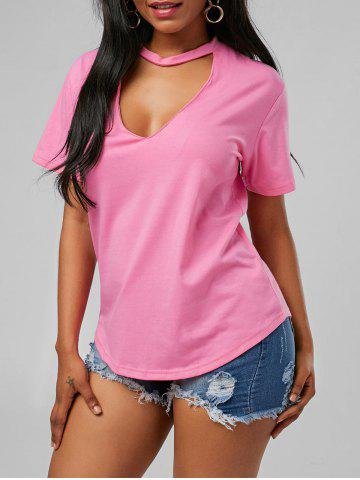 Fashion Plunging Neck Choker T Shirt - S PINK Mobile