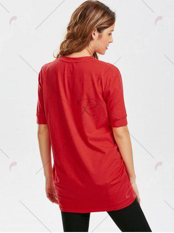 Discount Star Striped Print Tunic T Shirt - S RED Mobile