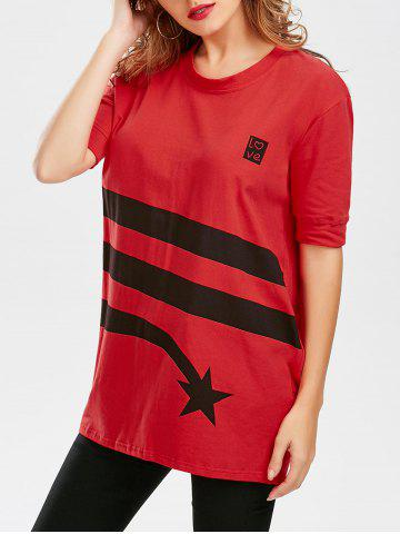 Store Star Striped Print Tunic T Shirt - S RED Mobile