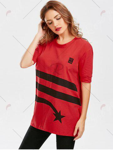 Unique Star Striped Print Tunic T Shirt - S RED Mobile