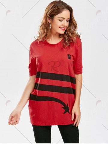 Shop Star Striped Print Tunic T Shirt - S RED Mobile