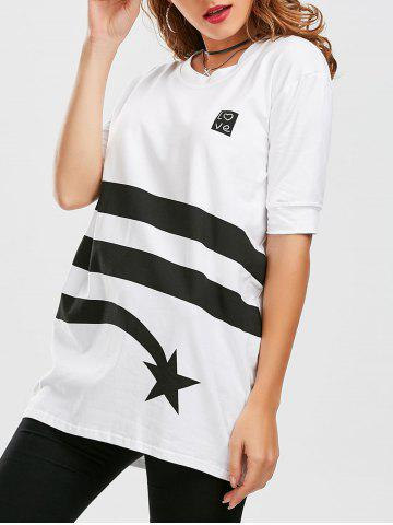 Discount Star Striped Print Tunic T Shirt - XL WHITE Mobile