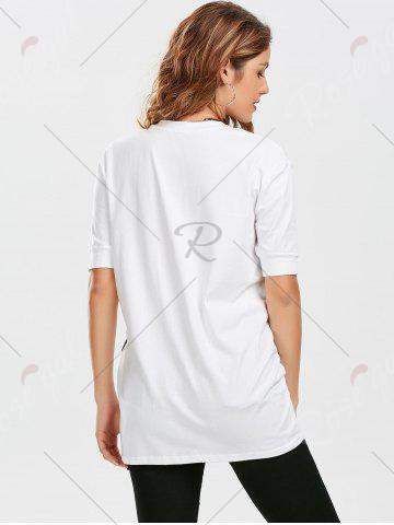Shop Star Striped Print Tunic T Shirt - XL WHITE Mobile