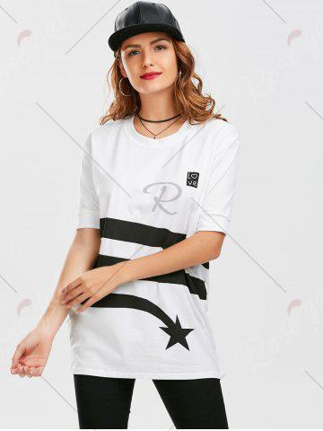 Outfits Star Striped Print Tunic T Shirt - XL WHITE Mobile