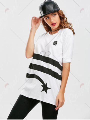 New Star Striped Print Tunic T Shirt - XL WHITE Mobile