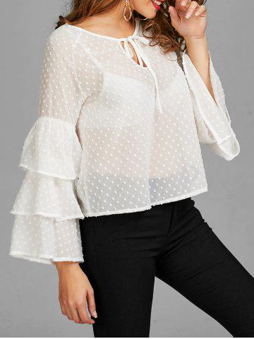 Cheap Layered Bell Sleeve Polka Dot Sheer Blouse WHITE S