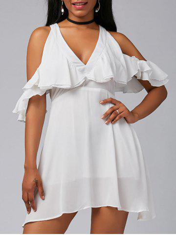 Outfit V Neck Ruffle Cold Shoulder Chiffon Mini Dress - XL WHITE Mobile