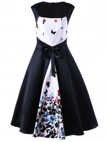 Butterfly Pattern Bowknot Decorated 50s Dress - White - 2xl