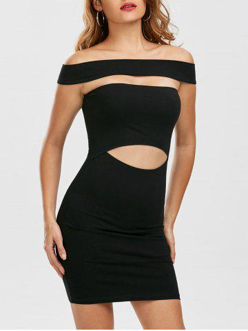 Cut Out Off Shoulder Mini Fitted Tight Dress - Black - M