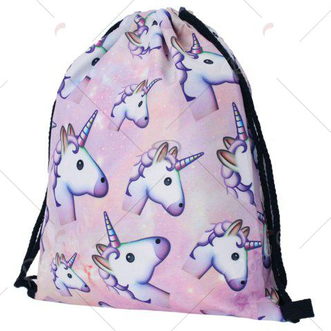 Latest Drawstring Unicorn Print Backpack - COLORMIX  Mobile
