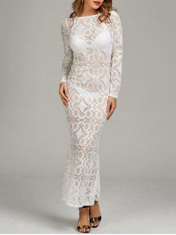 Backless Sheer Lace Long Sleeve Fitted Dress - White - Xl