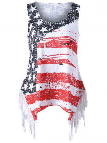 Fancy Plus Size Fringed American Flag T-shirt