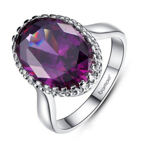 New Faux Crystal Zircon Platinum Plated Ring PURPLE