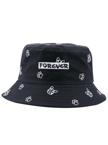 Best Cartoon Pattern Bucket Hat with Letters Embroidery - FULL BLACK  Mobile