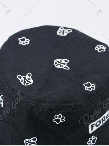 Outfits Cartoon Pattern Bucket Hat with Letters Embroidery - FULL BLACK  Mobile