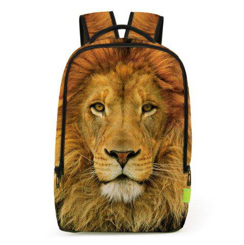Outfits 3D Lion Printed Backpack - LIGHT BROWN  Mobile