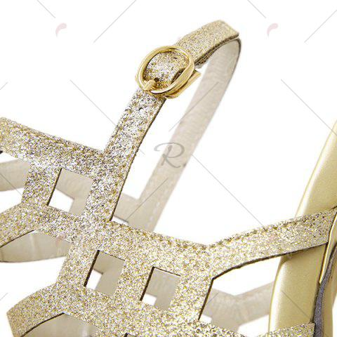 Fashion Belt Buckle Glitter Sandals - 40 GOLDEN Mobile