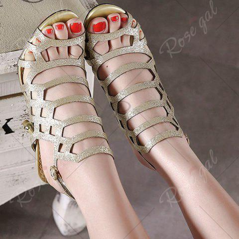 Online Belt Buckle Glitter Sandals - 40 GOLDEN Mobile