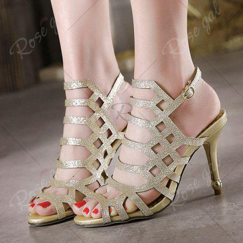 Latest Belt Buckle Glitter Sandals - 40 GOLDEN Mobile