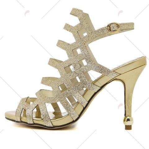 Unique Belt Buckle Glitter Sandals - 40 GOLDEN Mobile