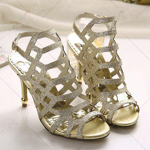 Outfits Belt Buckle Glitter Sandals - 40 GOLDEN Mobile