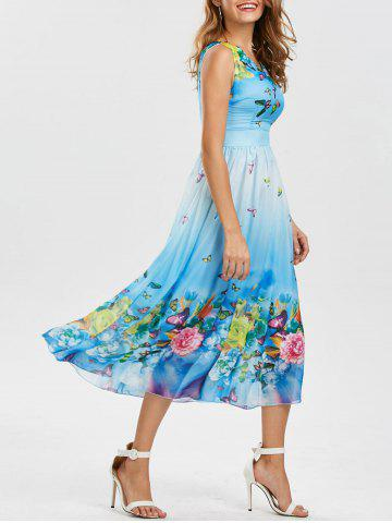 Outfits Bohemian Floral Butterfly Print Maxi Dress WINDSOR BLUE XL