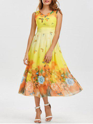Bohemian Floral Butterfly Print Maxi Dress - Yellow - L