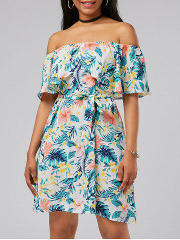 Hot Off The Shoulder Belted Floral Print Dress MULTI XL