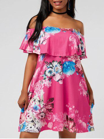 Shop Ruffle Floral Off The Shoulder Dress ROSE RED XL