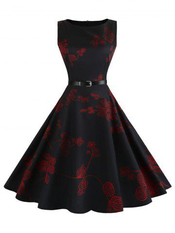 Outfit Floral Sleeveless Vintage Fit and Flare Dress RED S