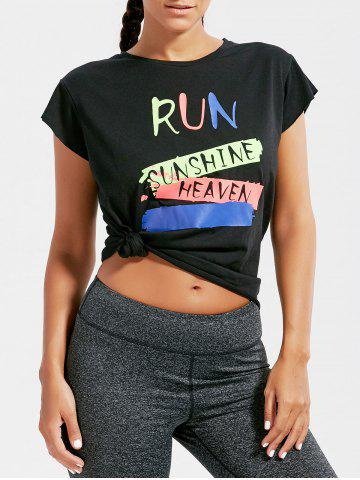 Fancy Active Letter Graphic Running T-shirt BLACK ONE SIZE